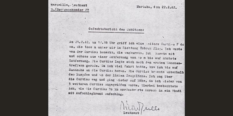 Authentischer Gefechtsbericht des Leutnant Marseille
