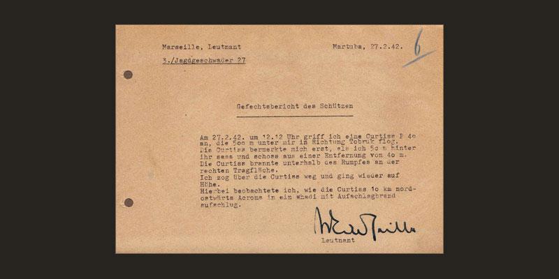 Gefälschter Gefechtsbericht des Leutnant Marseille