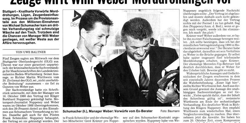 Zeuge wirft Willi Weber Morddrohungen vor